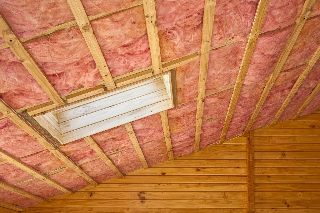 Installed roof insulation