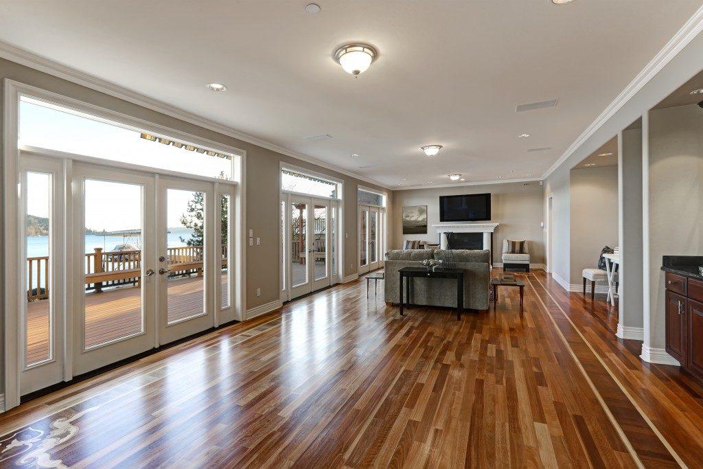Wooden floor across the room