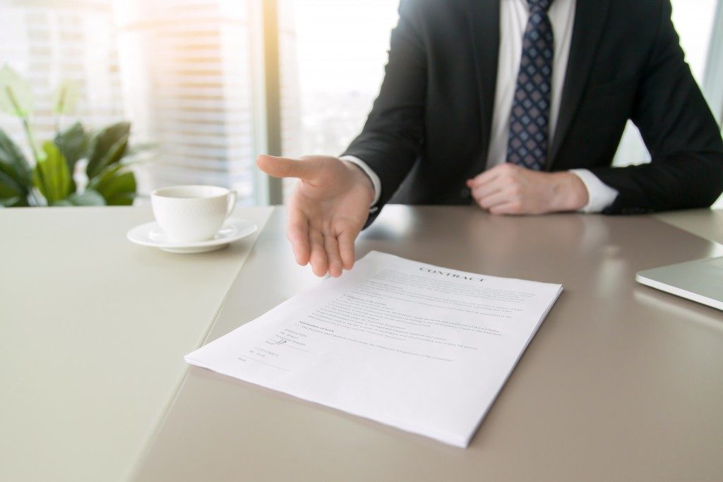 Contract being presented to buyer