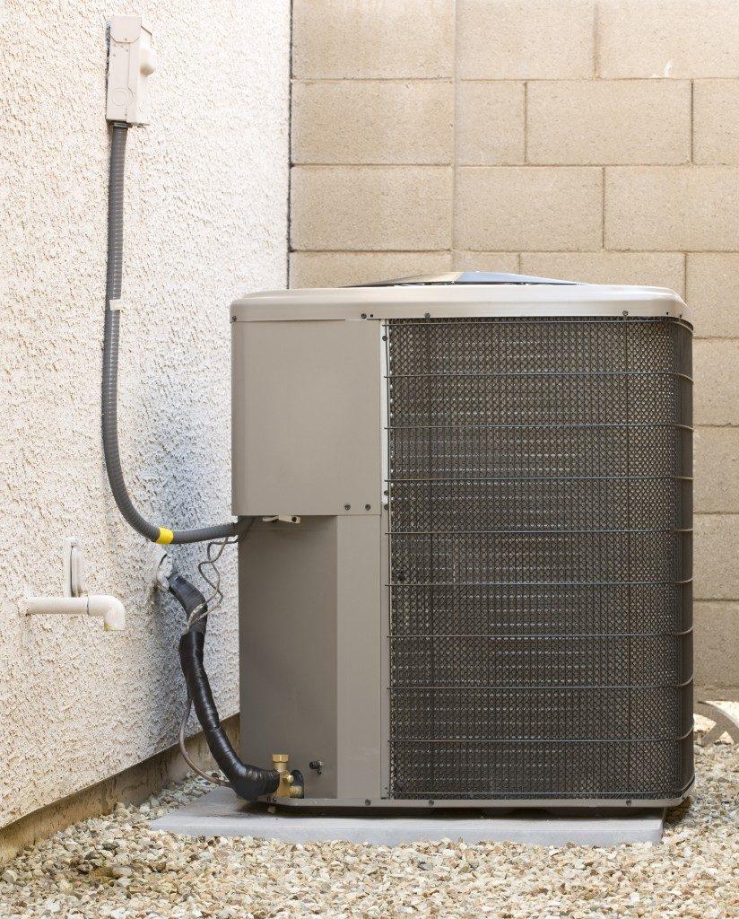 Heat pump at the backyard