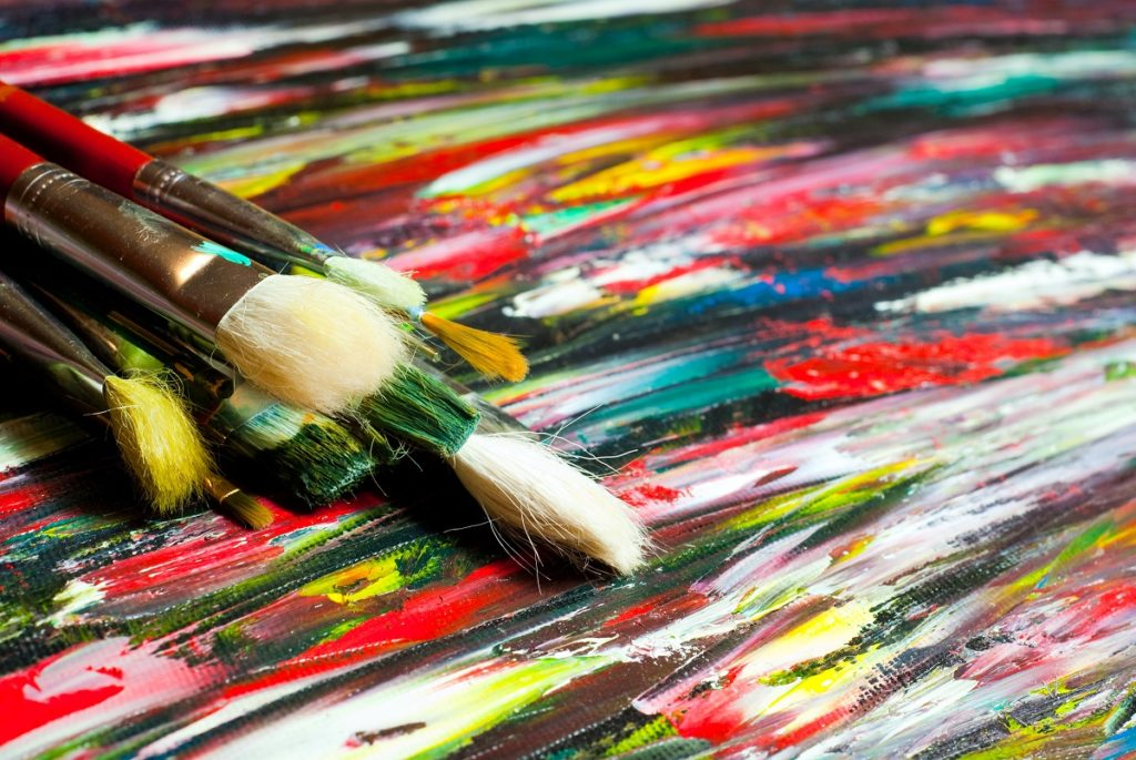 Paintbrushes stacked together