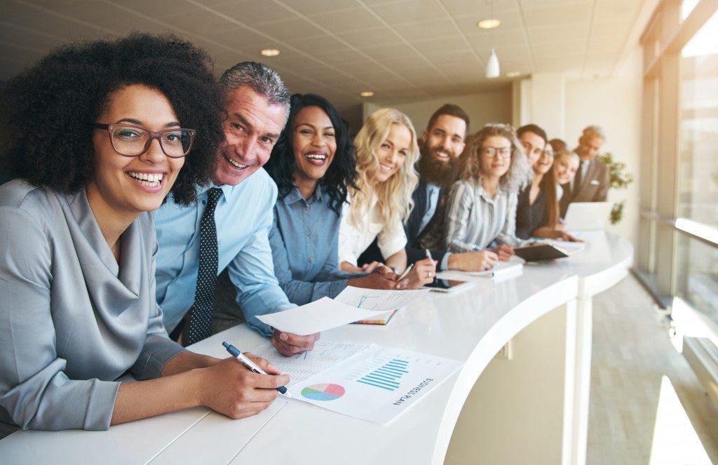 Employees smiling