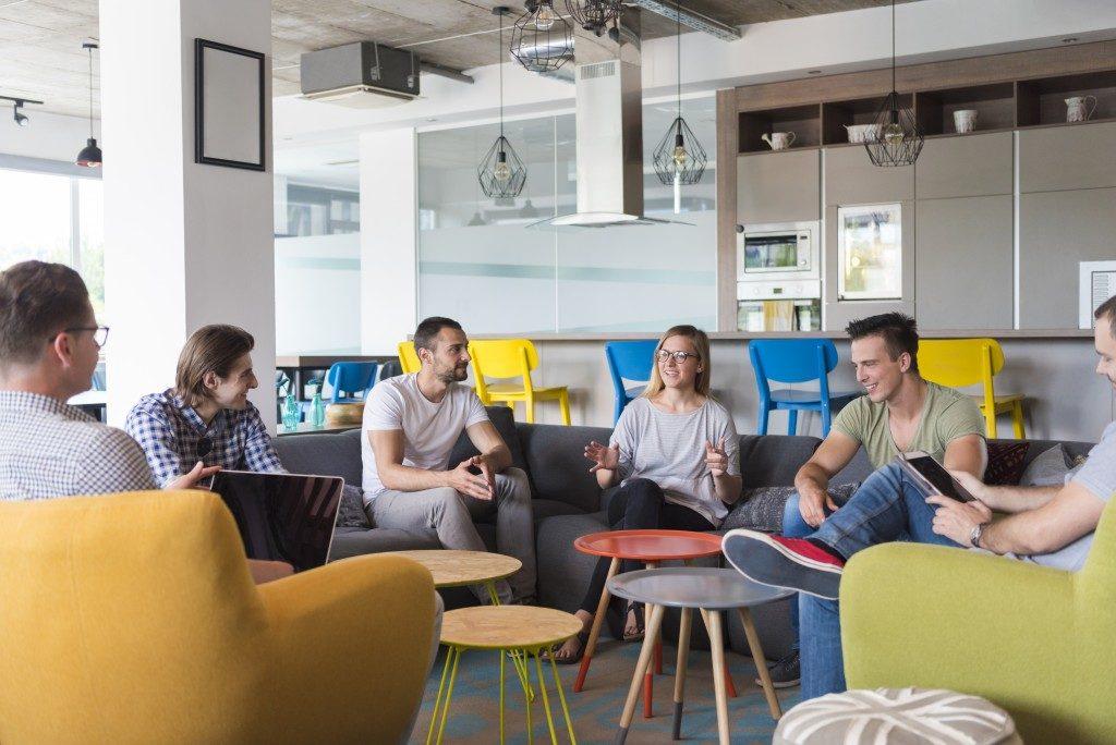 Employees on break in office