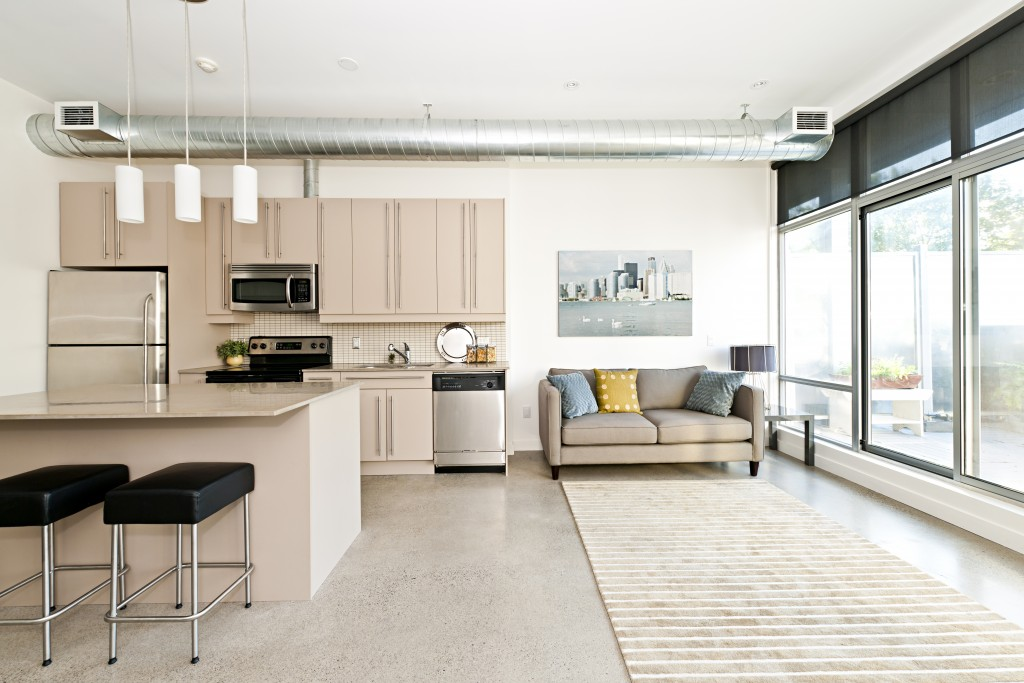 Kitchen and living room of an apartment