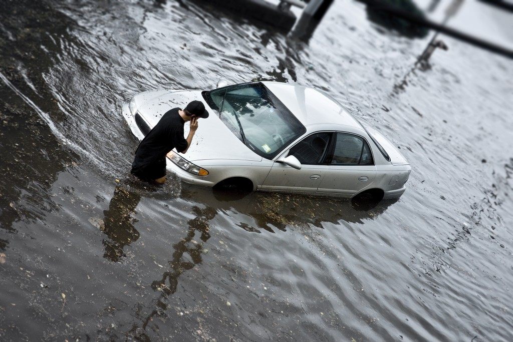 Auto Stuck in Flood Waters