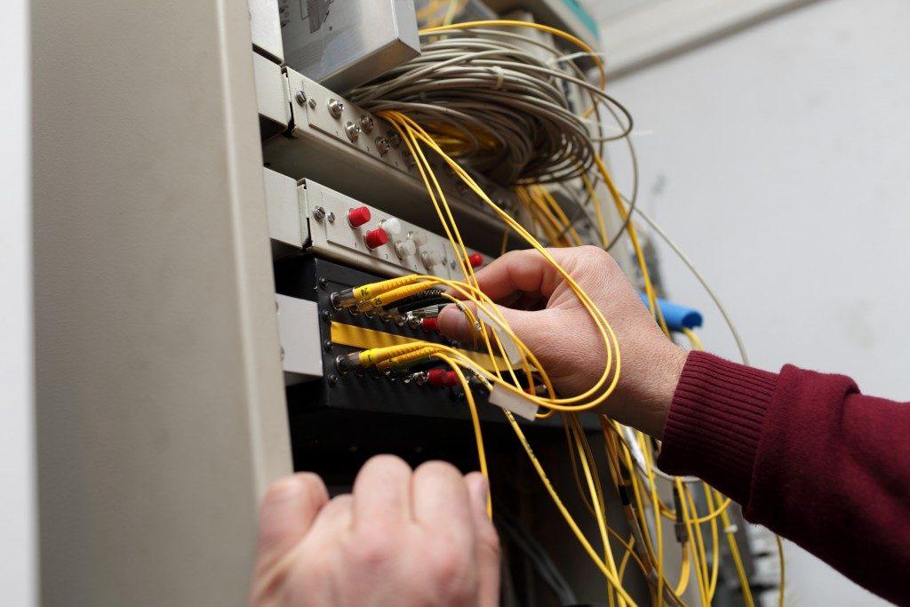 A technician working
