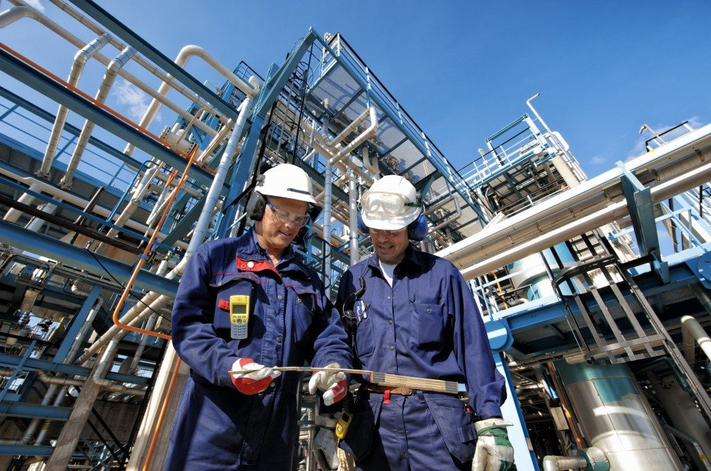 workers in a chemical plant
