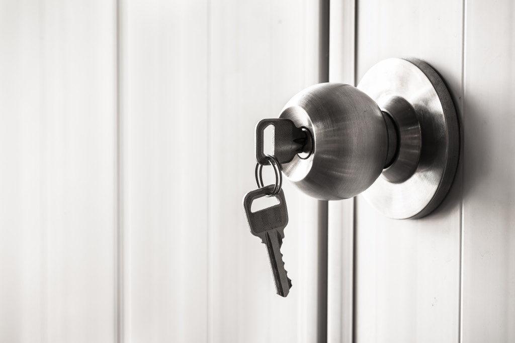 key on the door knob