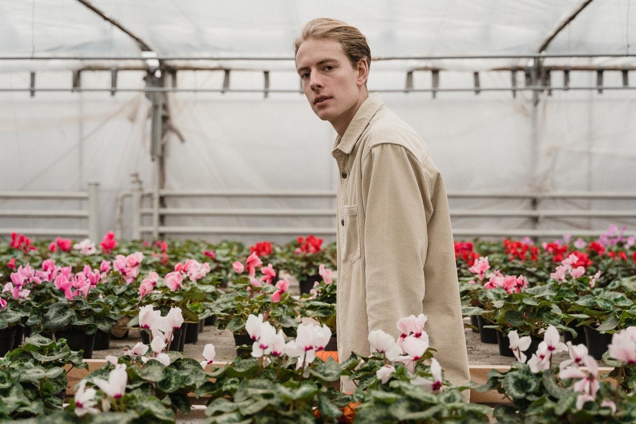 man at a garden