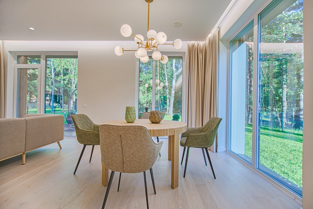 dining room with glass doors