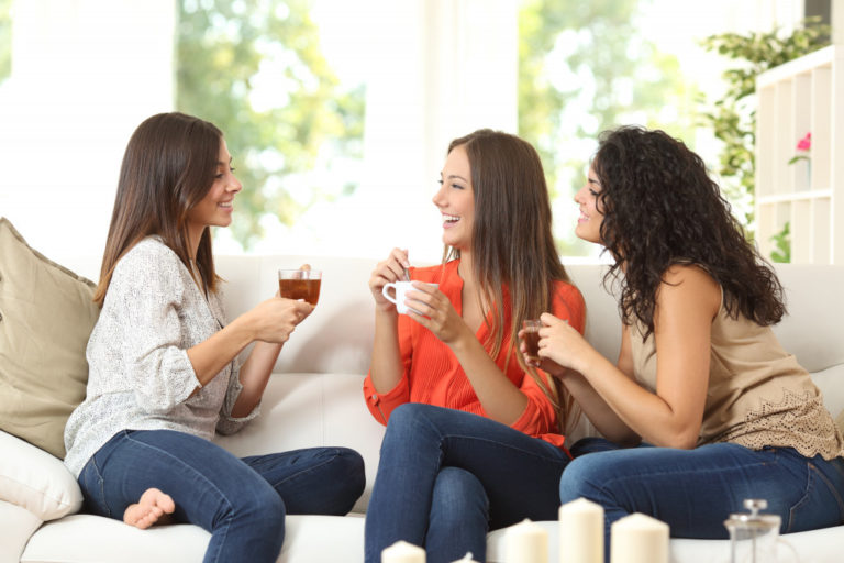 woman with friends at her house
